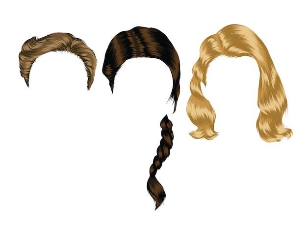Ilustración de color de los peinados de las mujeres. cortes de pelo aislados y peinados para niñas.