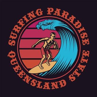 Ilustración de color de una persona que practica surf en estilo vintage. esto es perfecto para logotipos, estampados de camisetas y muchos otros usos.