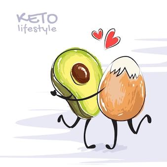 Ilustración a color de personajes bailando aguacate y huevo. concepto de dieta cetogénica