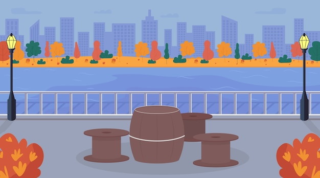 Ilustración de color plano de área de picnic urbano