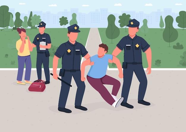 Ilustración de color plano de arresto de ladrón. el policía atrapó a un ladrón. mujer víctima. protección legal. seguridad civil. oficiales de policía personajes de dibujos animados 2d con paisaje urbano en el fondo