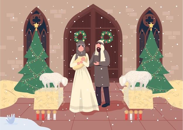 Ilustración de color plano de belenes navideños
