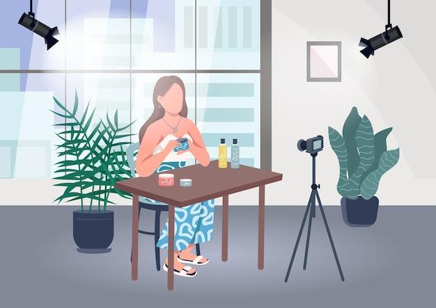 Ilustración de color plano de blogger de maquillaje