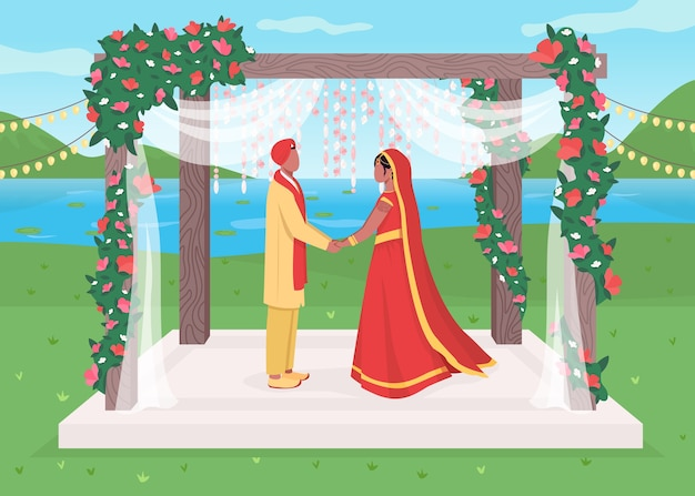 Ilustración de color plano de boda india
