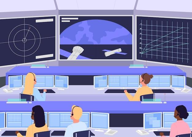 Ilustración de color plano del centro de control de misión