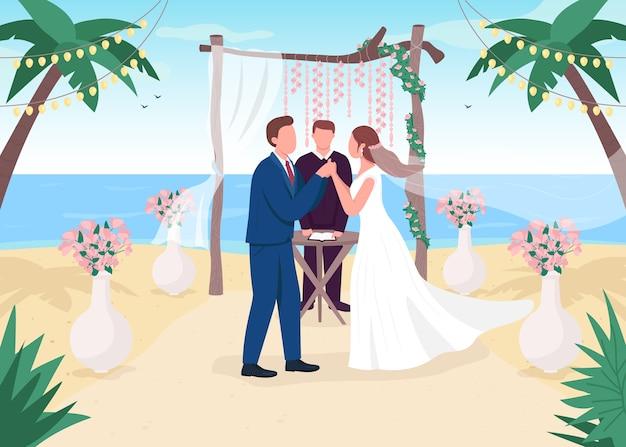 Ilustración de color plano de ceremonia de boda tropical