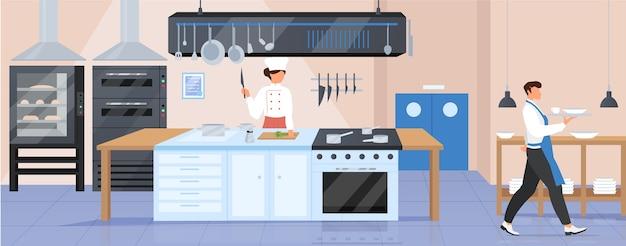 Ilustración de color plano de cocina de restaurante