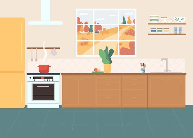 Ilustración de color plano de cocina