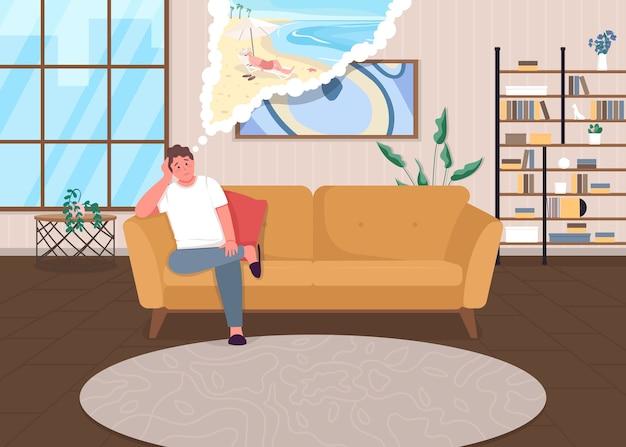 Ilustración de color plano de depresión de bloqueo autoaislamiento durante la pandemia chico triste pensar en vacaciones hombre soñando con personajes de dibujos animados de vacaciones con interior de casa en