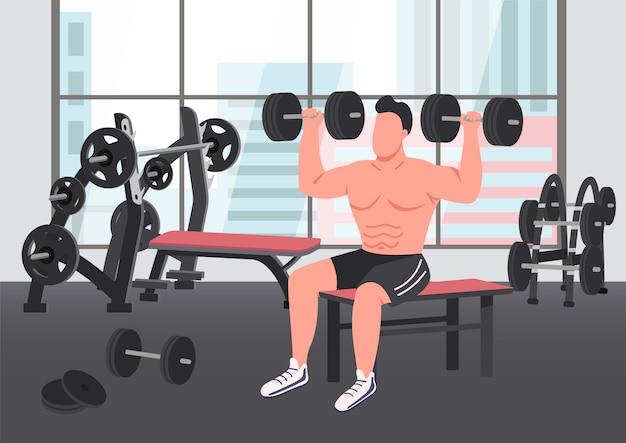 Ilustración de color plano de ejercicio de culturismo