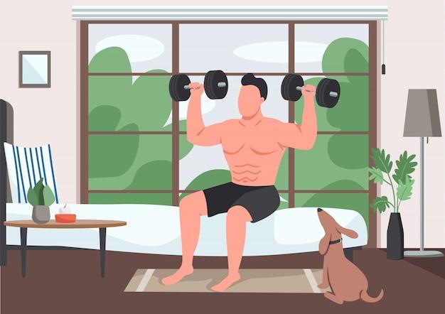 Ilustración de color plano de ejercicio doméstico