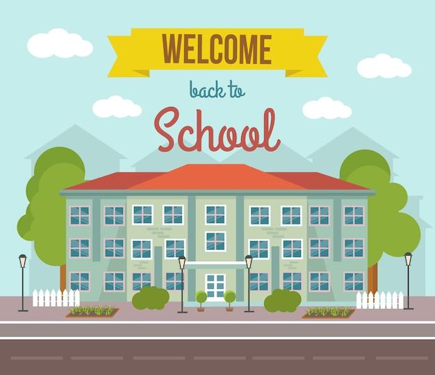 Ilustración de color plano de la escuela con el paisaje del edificio y bienvenido al título de la escuela