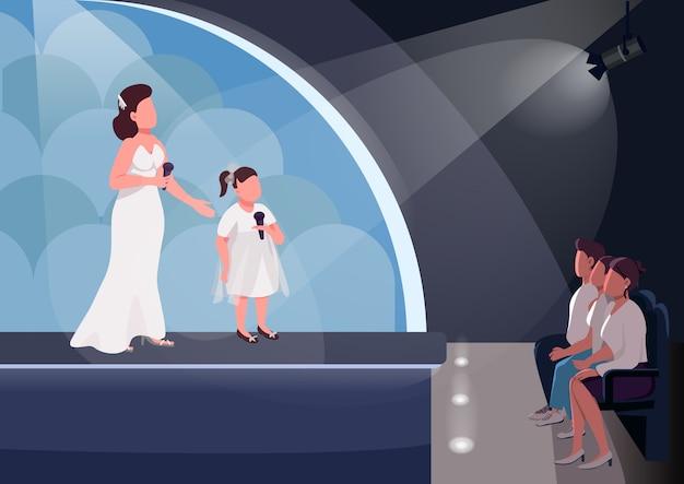 Ilustración de color plano de espectáculo de talento para niños