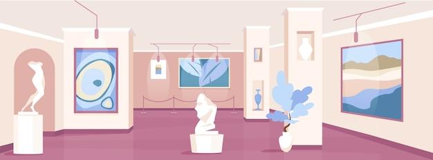 Ilustración de color plano de la galería de arte de moda