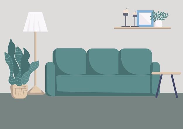 Ilustración de color plano interior de sala de estar moderna