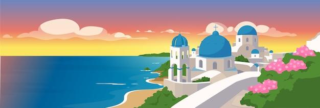 Ilustración de color plano de las islas de santorini