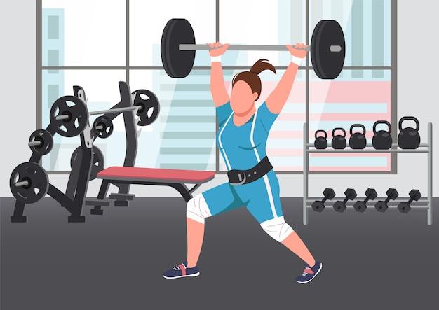 Ilustración de color plano de levantamiento de pesas