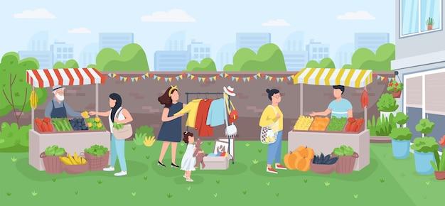 Ilustración de color plano de mercado de agricultores urbanos