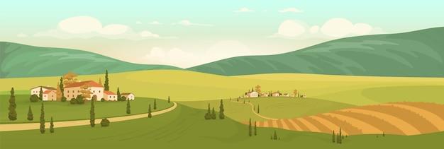 Ilustración de color plano de paisaje natural de otoño