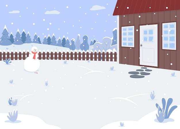 Ilustración de color plano de patio de casa de invierno