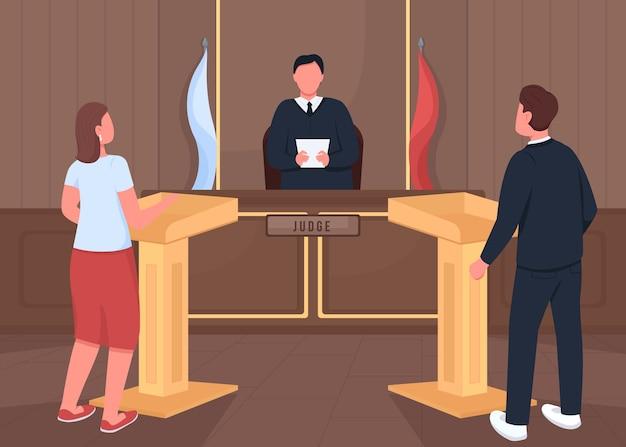 Ilustración de color plano de procedimiento de demanda judicial. abogado y fiscal. audiencia de testigos. juez, hombre y mujer personajes de dibujos animados 2d con interior de sala de tribunal en el fondo