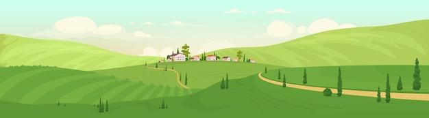 Ilustración de color plano de pueblo de montaña vieja. paisaje de dibujos animados 2d de villas de lujo con colinas verdes en el fondo. destino de vacaciones de verano.