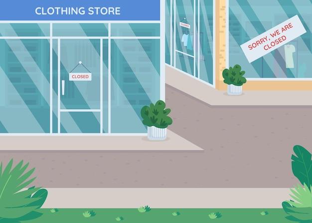 Ilustración de color plano de tiendas cerradas