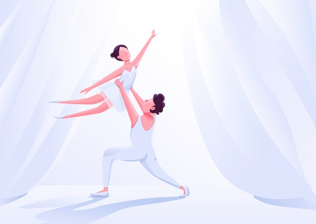 Ilustración de color de rendimiento de pareja de bailarines de ballet. movimiento de socios de danza de teatro en personajes de dibujos animados de escenario. bailarina elegante en tutú sobre fondo blanco cortinas