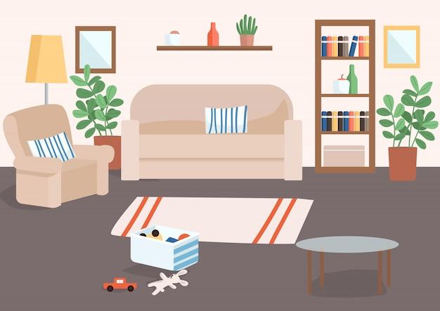 Ilustración de color de sala de estar familiar. cesta con juguetes para niños en el suelo. alfombra para decoración de casas. interior de dibujos animados de sala de estar con sofá y sillón en el fondo