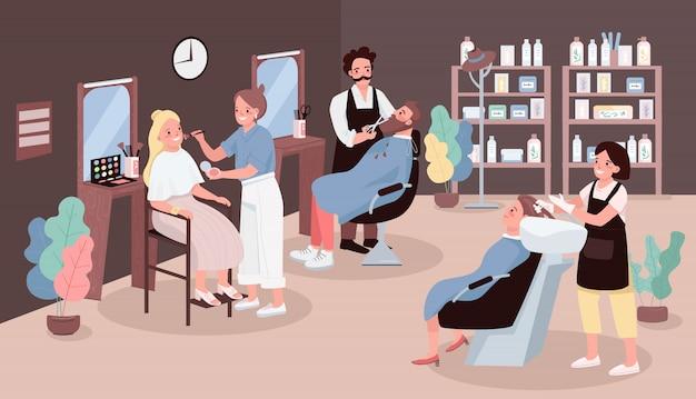 Ilustración de color de salón de peluquería. hombre cortando barba. peluquería lavando el cabello de la mujer. artista aplicar maquillaje. estilistas personajes de dibujos animados con muebles de salón de belleza en el fondo