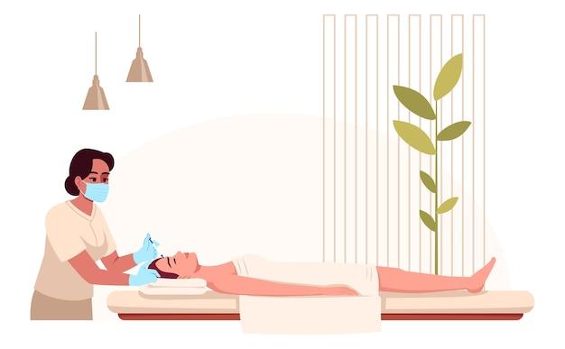 Ilustración de color semi rgb de tratamiento de belleza. terapia de spa. inyección cosmética facial. procedimiento de salón. esteticista con personajes de dibujos animados del cliente femenino sobre fondo blanco.