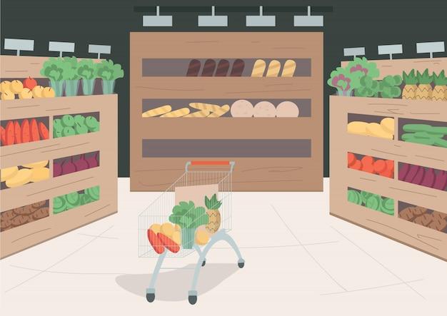Ilustración de color de la tienda de comestibles. variedad de alimentos y productos en los estantes de la tienda. carro trolley con verduras y frutas en su interior. interior de dibujos animados de supermercado con decoración en el fondo