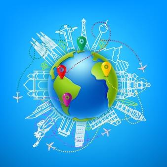 Ilustración de color de vector de viajes mundial