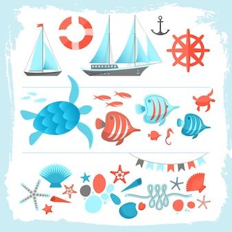 Ilustración de color de verano con equipo de yate, velero, cuerda de ancla, tortuga marina, estrella de mar
