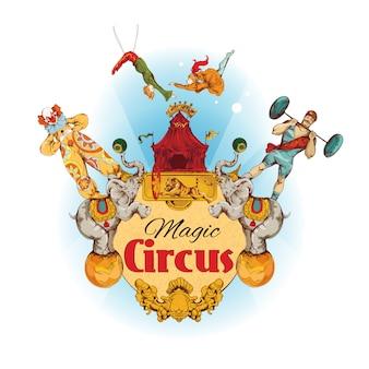Ilustración coloreada circo mágico vintage