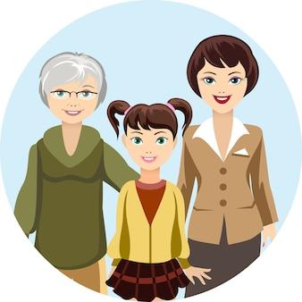 Ilustración coloreada de hembras caricaturizadas en diferentes edades