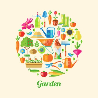 Ilustración coloreada del jardín