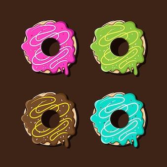 Ilustración de colores variantes de donuts fundidos