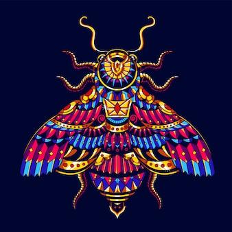 Ilustración colorida de la abeja, zentangle del mandala y diseño de la camiseta