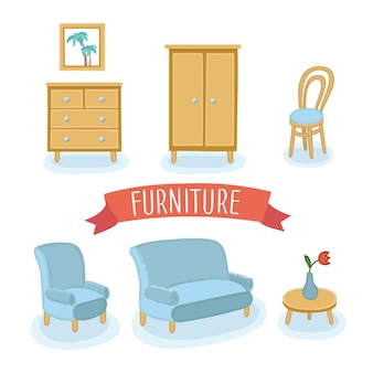 Ilustración colorida aislada del conjunto de muebles