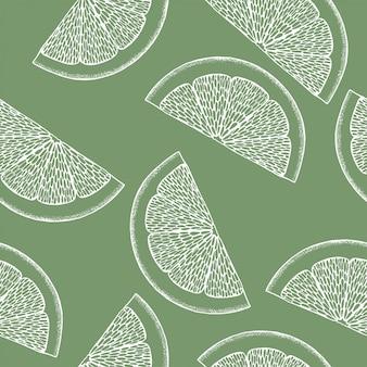 Ilustración colorida de arte lineal sobre fondo verde. patrón de limón abstracto para diseño de impresión. ilustración colorida. arte. lindo fondo transparente. patrón sin fisuras de la naturaleza tropical.