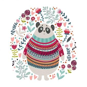 Ilustración colorida de arte con oso y flores.
