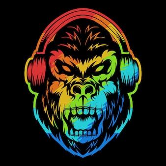 Ilustración colorida de auriculares gorila enojado
