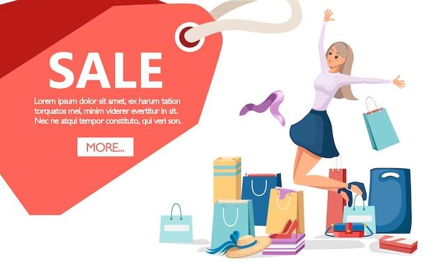 Ilustración colorida de bolsas de papel de compras