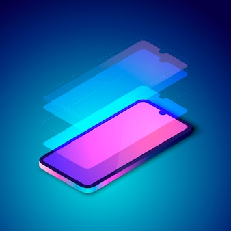 Ilustración colorida de capas de pantalla de teléfonos inteligentes.