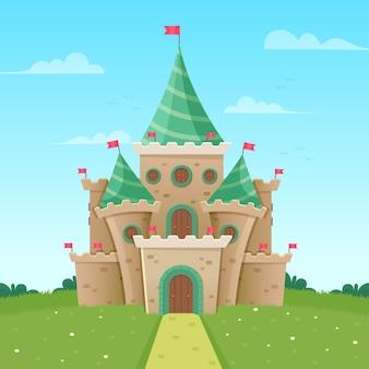 Ilustración colorida del castillo de cuento de hadas