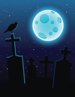 Ilustración colorida de un cementerio con luz de luna sobre un cielo azul oscuro. tumbas con cruces y una luna llena azul. diseño de volante para halloween con un cuervo sentado en un cementerio