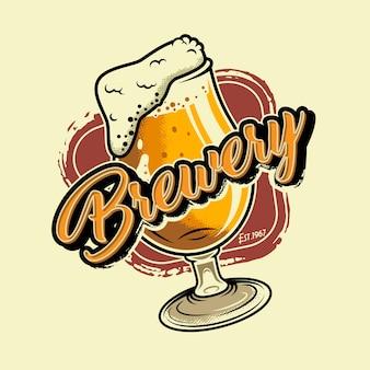 Ilustración colorida de la cervecería vintage