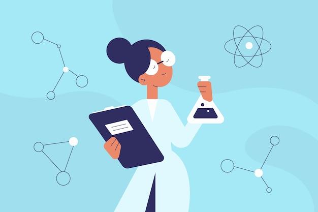 Ilustración colorida del científico femenino