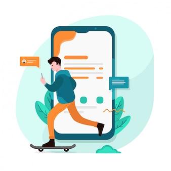 Ilustración colorida de comunicación a través de internet, redes sociales, noticias, gráfico web móvil